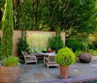 backyard with plants and art furniture