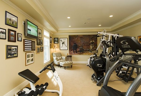Modern basement home gym area design with tv room decorating ideas