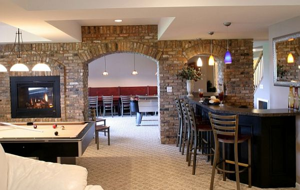 basement-gaming-room-with-exposed-bricks