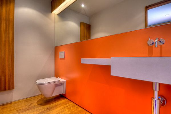 Pulp up your bathroom with shades of orange for Bathroom decor orange