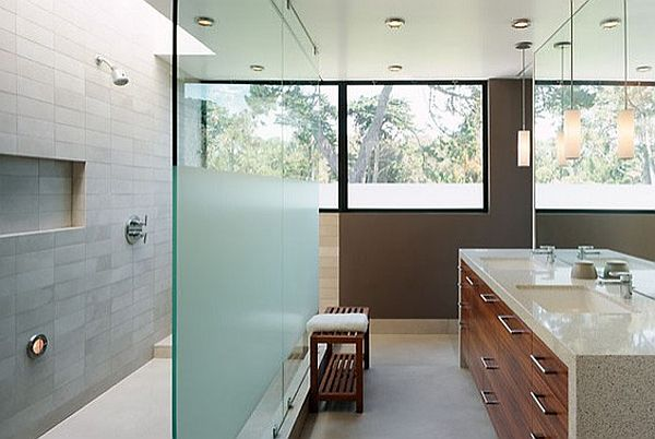 bathroom frosting glass wall separating space DIY Privacy Frosting Tips: Bathroom Window Treatments
