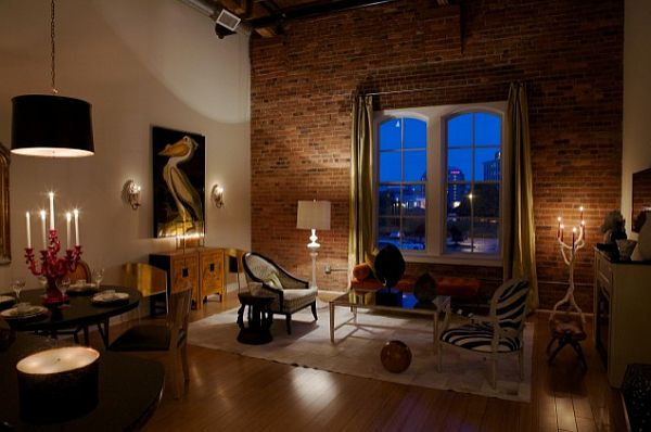 Beautiful Living Room With Exposed Brick Wall Against White