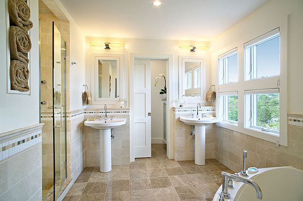beautiful pedestal double sinks