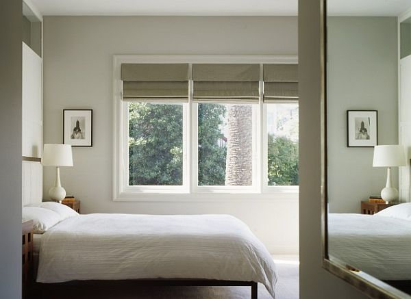bedroom with roman blinds