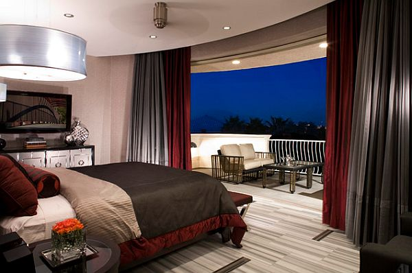 bedroom with stylish balcony design