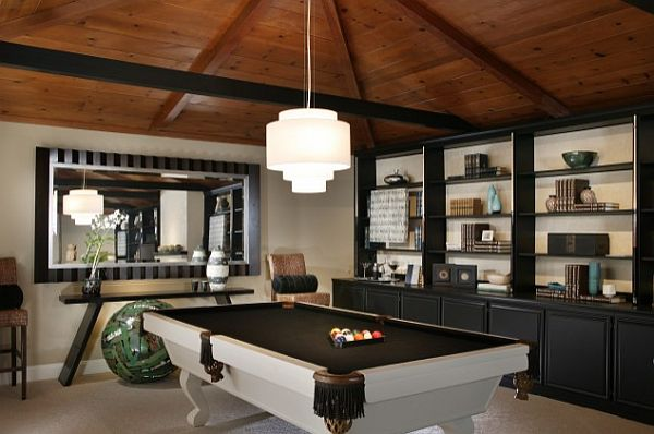 black and white gaming room with pool table and large mirror
