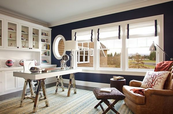 Black And White Home Office With Blue Wall And Roman Shades