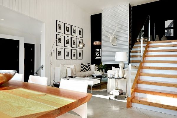 black and white interior walls with traditional wooden furniture