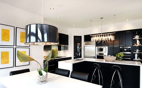 black and white kitchen design with yellow wall art