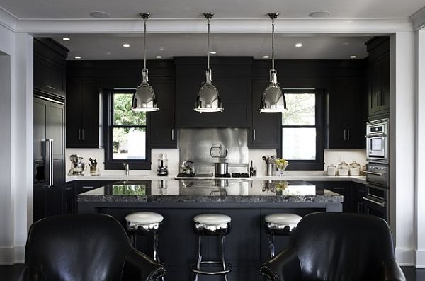 black and white kitchen with minimalist lighting Modern & Minimalist Lighting Solutions for a Chic Home