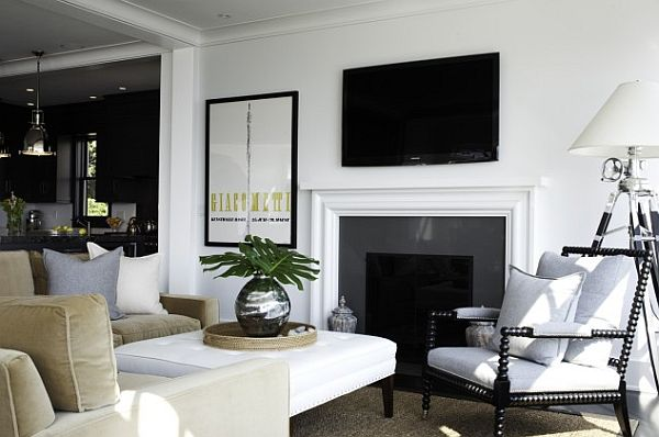 Black and white living room decor with green accents