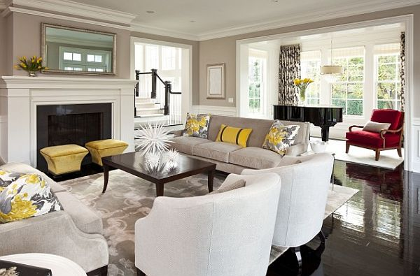 Black and white living room design with yellow accessories Yellow living room accessories