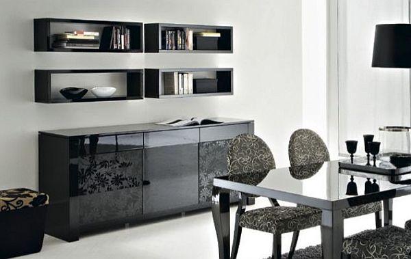 black furniture living room with box shelves