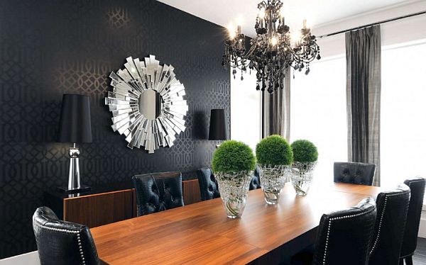 Black wall art for contemporary dining room with modern table and