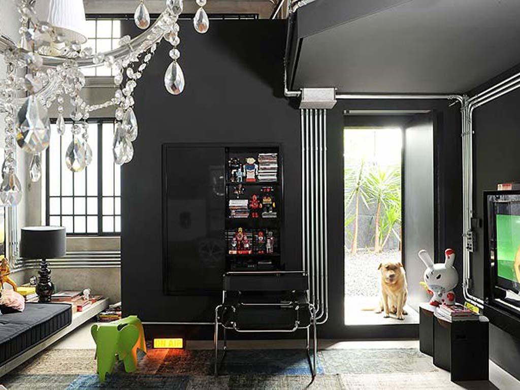 black walls living area