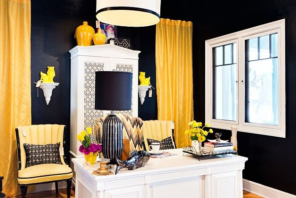 black, yellow and white contemporary home office