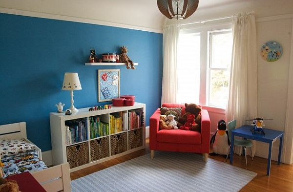 blue and red children bedroom