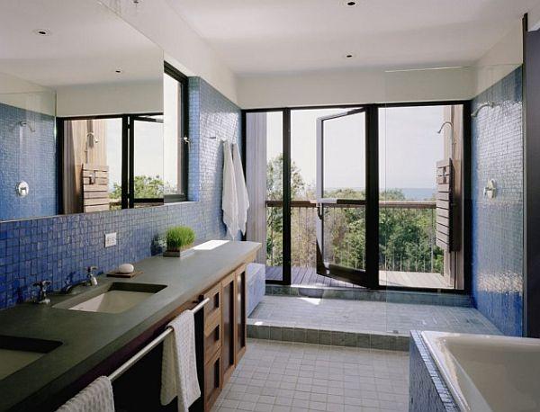 blue bathroom design with outdoor deck