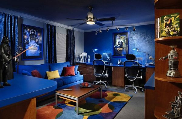 blue inspired media and family room