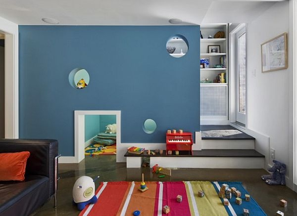 blue themed kids room