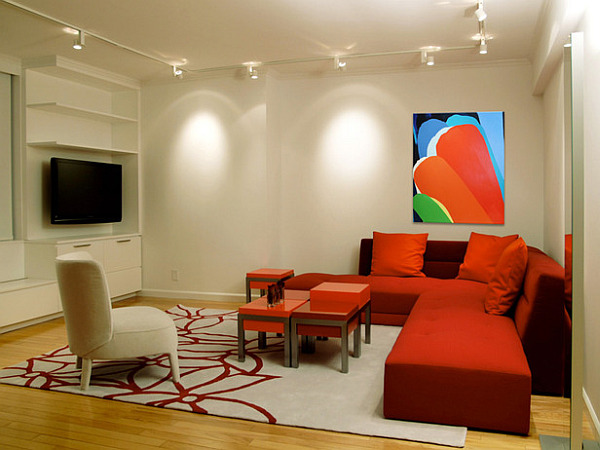 Bold artwork in expansive living area brings energy to the space