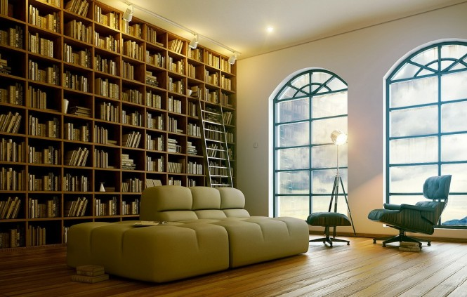 bookcase design with modern reading chair