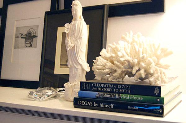 Bookshelf display with coral