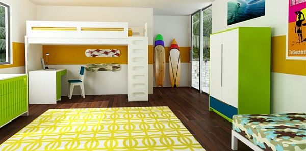 bright colored, green white and yellow children room