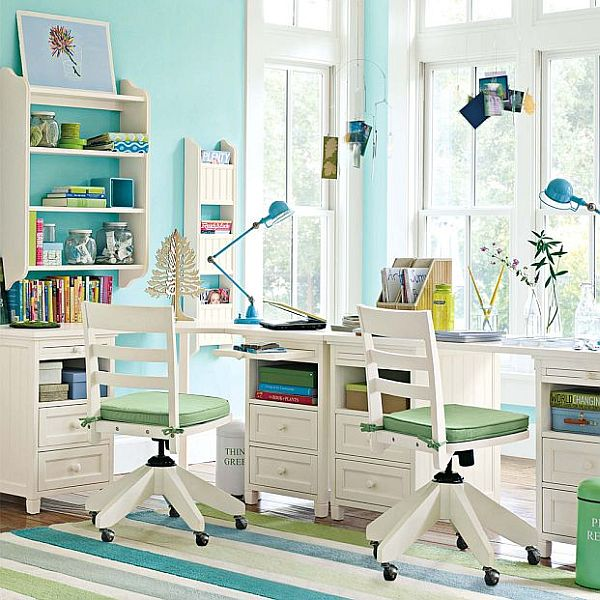 bright colorful kids study rooms designs