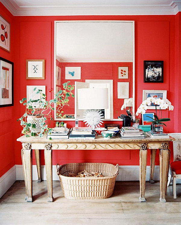 bright ruby red wall