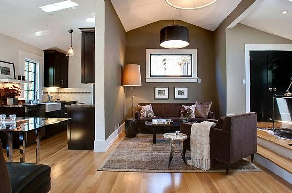Superior Dark Brown And White Living Room Part 19