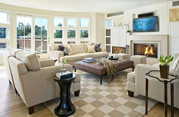 checkered rug in modern living room Checkered Patterns for Home Decor: Charming or Cheap?