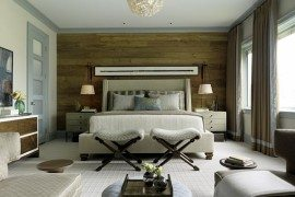 chic wooden wall in bedroom