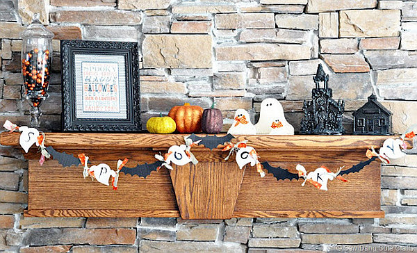colorful Halloween mantle decoration