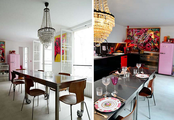 colorful brasserie french kitchen design
