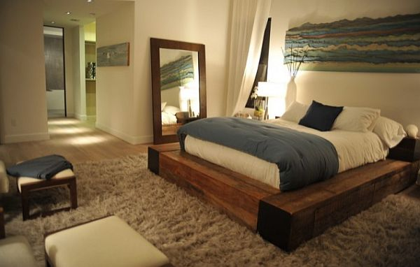 comfortable bedroom with cozy natural wood bed frame