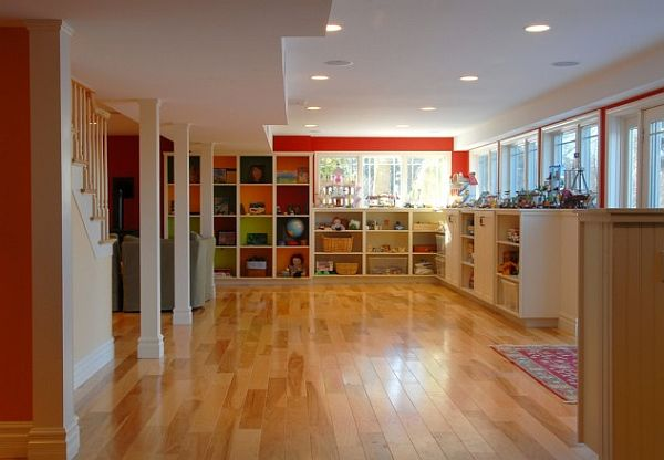 contemporary basement design with large box shelving unit on the walls