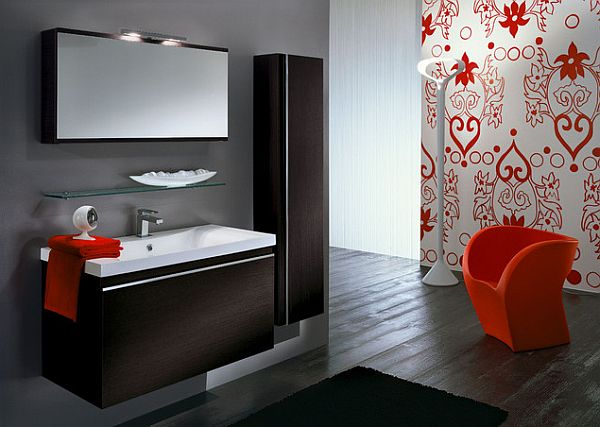 contemporary bathroom design with tangerine tango colors Keeping Up With the Trend Setters: Pulp Up Your Bathroom with Shades of Orange