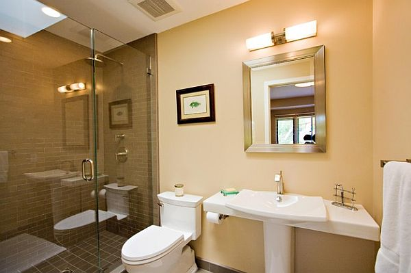 contemporary bathroom remodeling – pedestal sink, new toilet and roman shower