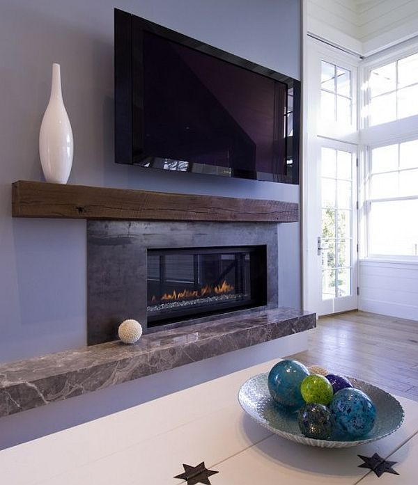 Contemporary beach house living room fireplace mantle - Modern fireplace living room design ...