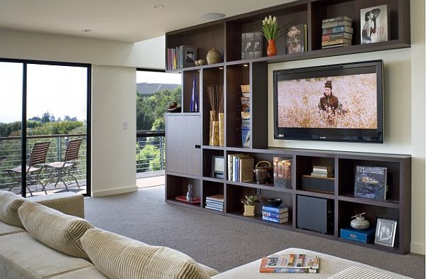 contemporary box shelves TV unit