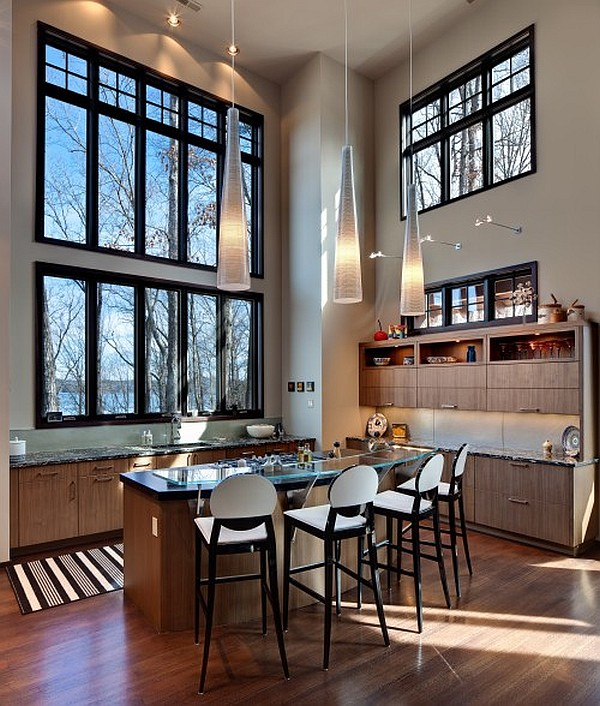 contemporary high ceiling kitchen design