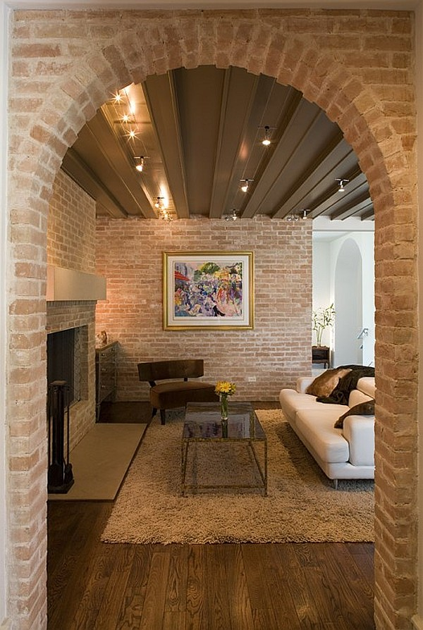 contemporary house with exposed brick walls
