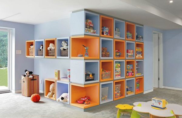 contemporary kids bedroom with colorful box shelves