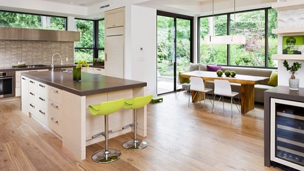 contemporary kitchen design with wooden flooring and breakfast nook 22 ...