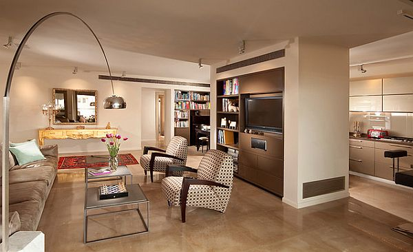contemporary living room in cream beige with TV storage and room divider Best Colors for a Positive Mood Interior