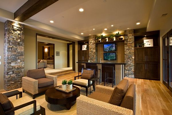 contemporary living room with fieldstone tiles walls Choosing Fieldstone Tile for Interior Walls