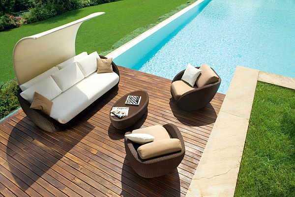 contemporary patio furniture at the pool – cream & brown