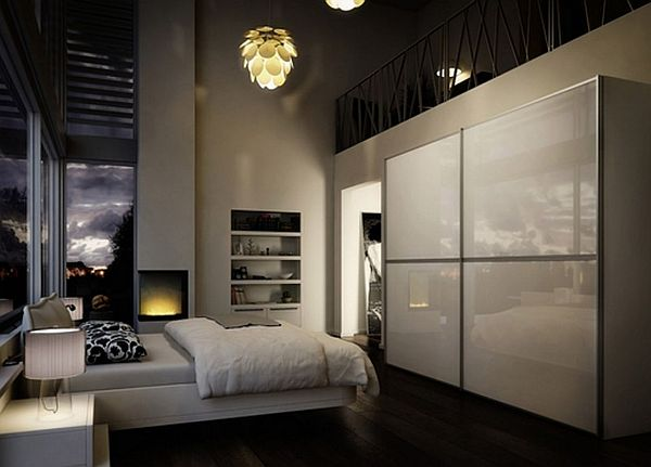 Contemporary Sliding Doors Wardrobe In Large High Ceiling