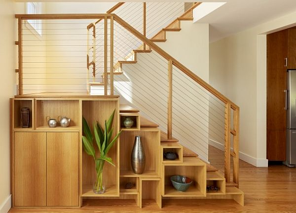 contemporary staircase designwith box shelving storage options